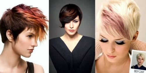 three colorful pixie cuts