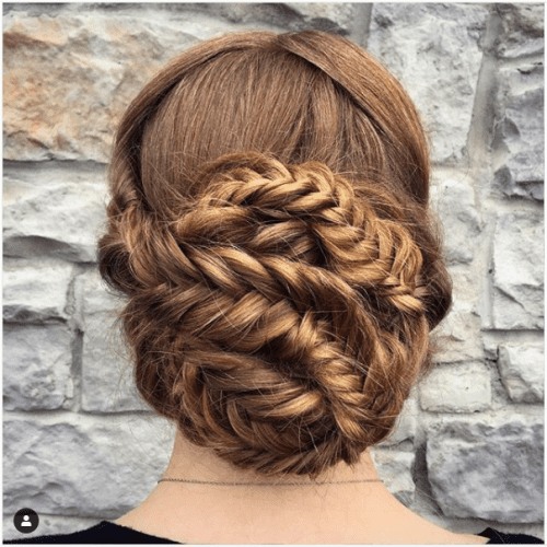 fishtail braids crown updo