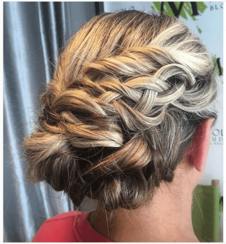 five strands braided updo