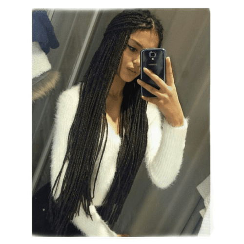 low bun loose box braids