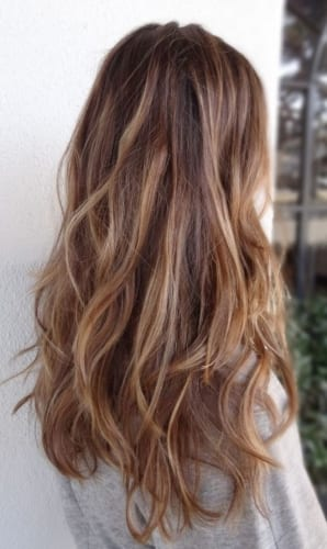 long wavy caramel hair
