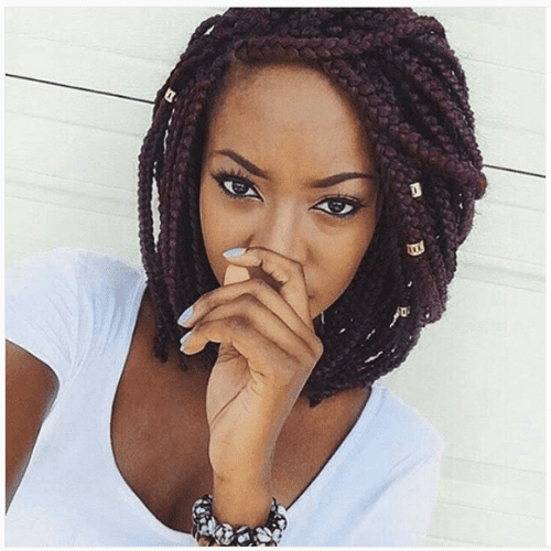 Medium-Length Auburn Box Braids