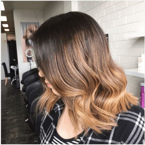 rich caramel medium length hair