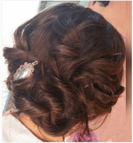 twisted braid messy low bun