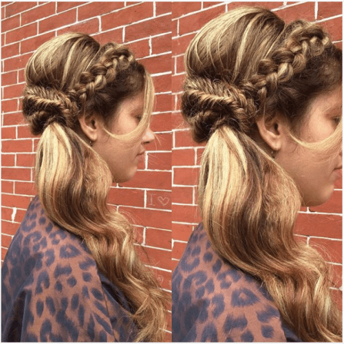 Warm Caramel Hair with Braided Half Do