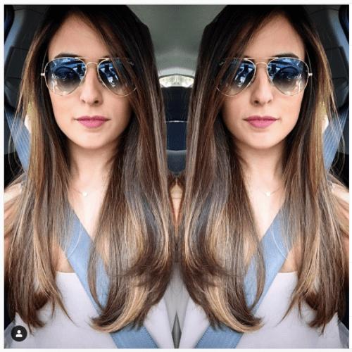 woman with long caramel hair