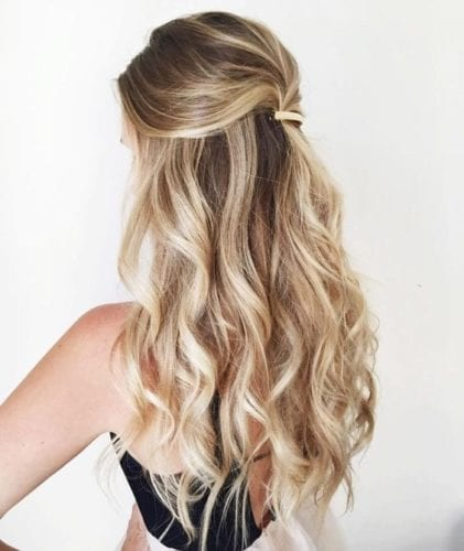 Casual Half Up Half Down Hairstyles with Barette