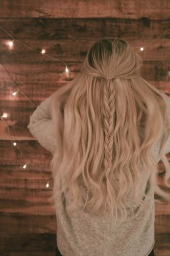 Half Up Half Down Hairstyles For Long Hair with Fishtail Braid