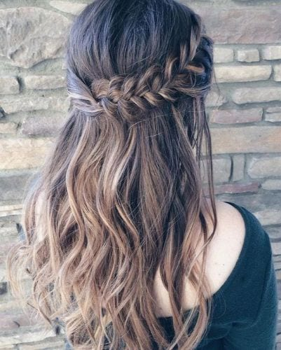 Waterfall Braid Half Up Style