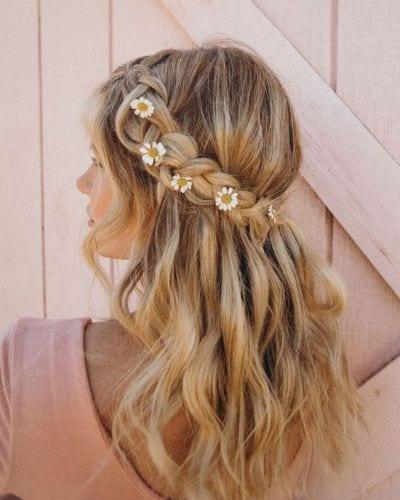 crown braid wavy hair