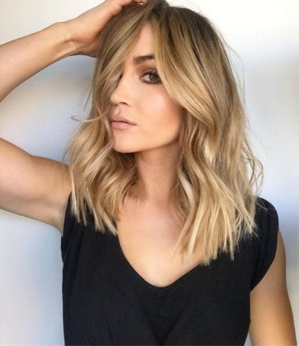 golden bronde hair lob