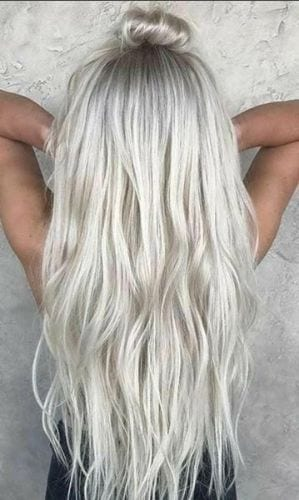 icy silver blonde hair