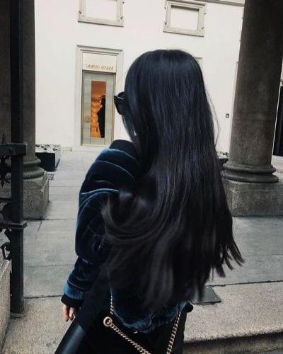 inky black hair