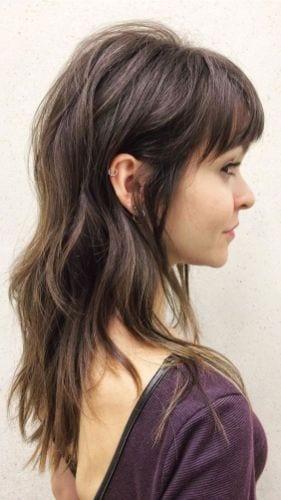 long layered shag hair with bangs