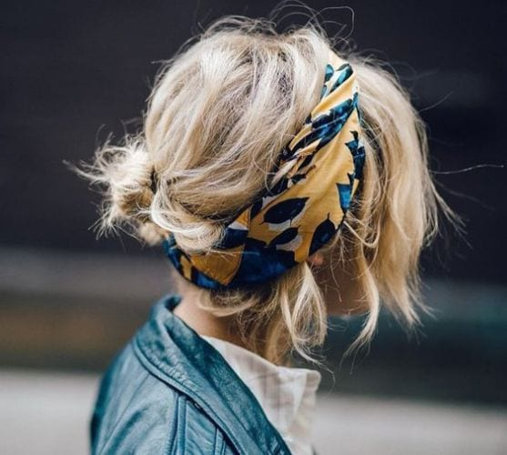 messy medium wavy hair with headscarf