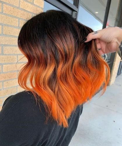 orange ombre on brunette hair