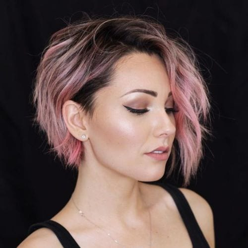 short wavy pixie with long bangs