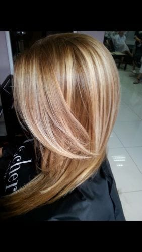 warm blonde caramel highlights