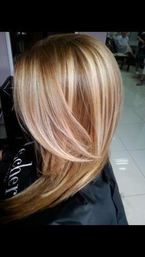 warm blonde caramel highlights