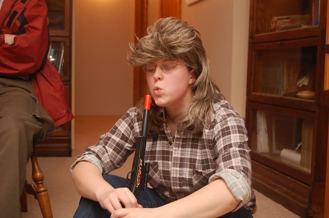 Man with a mullet hairstyle