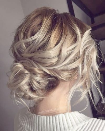 Wavy Hair in Bun