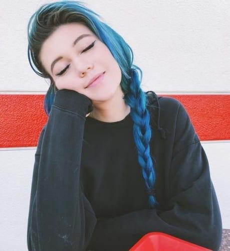 blue black hair in braid