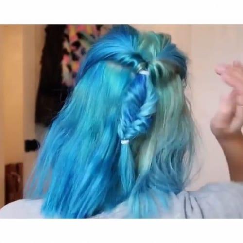 blue fishtail on medium length hair