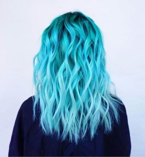 blue hair color on wavy hair