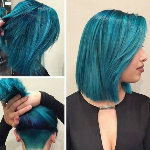 blue long bob
