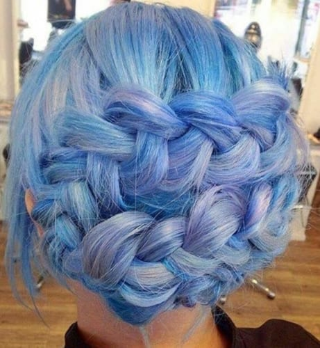 blue mermaid hair in french braid