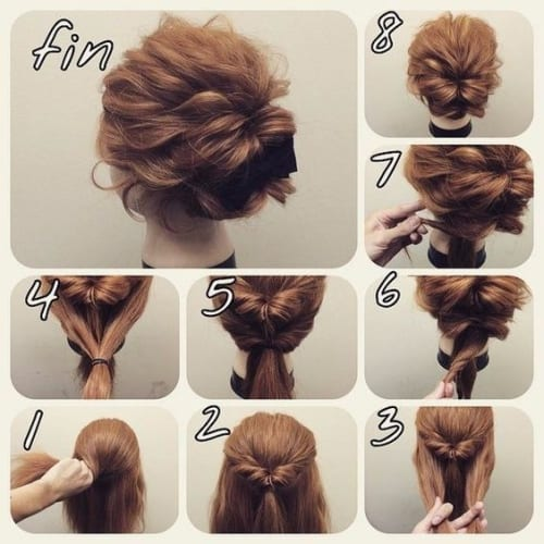 braided messy updo for short hair