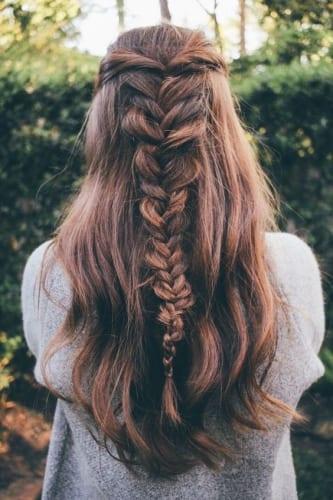 fishtail braid on long hair