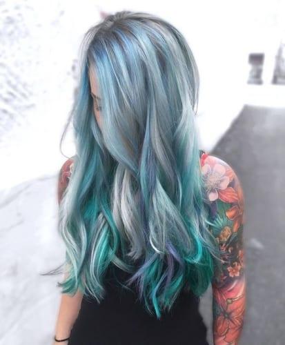 green silver blue hair