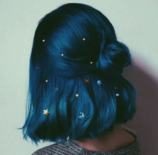blue half up bun with stars