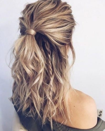 messy half up ponytail and braid