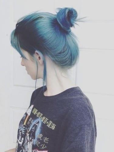 ombre blue bun hairstyles