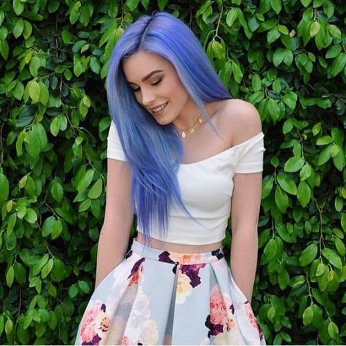 pastel purple blue straight hair