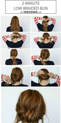 school hairstyles for long hair low braided bun