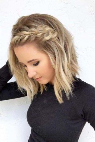 side braid on medium length hair
