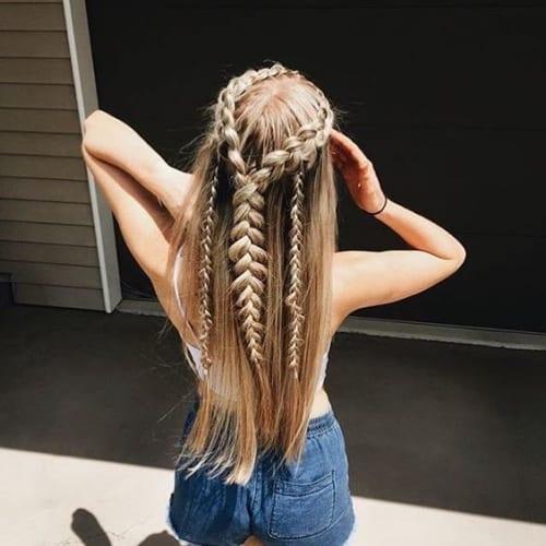long hair with crown fishtail braid and twin braid