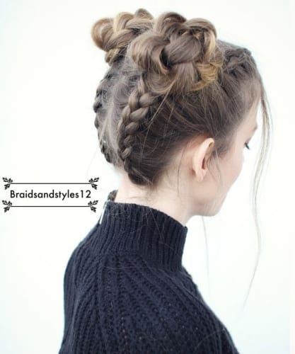 upside down braided buns