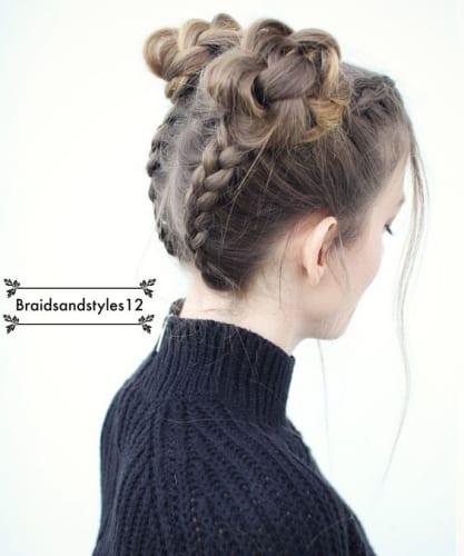 upside down braided buns