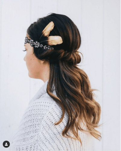 Cute Easy Hairstyles For Thanksgiving with Feathers