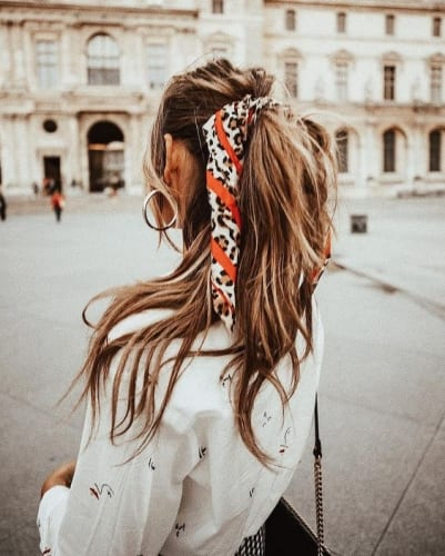 Easy Hairstyles For Thanksgiving - Half ponytail with hairscarf