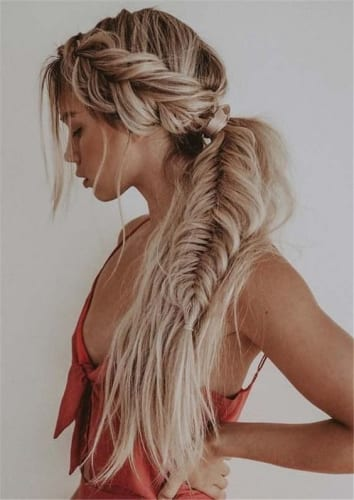 French Braid into Fishtail Ponytail