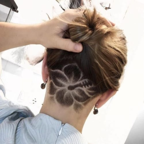 Flower Hair Tattoo Undercut