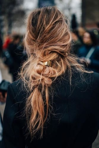 Messily Braided Ponytail Look