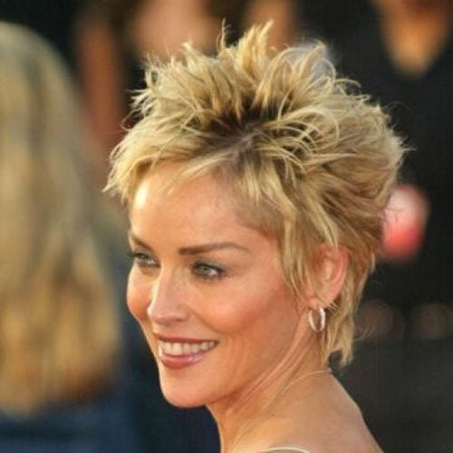Sharon Stone Messy Spiky Hair