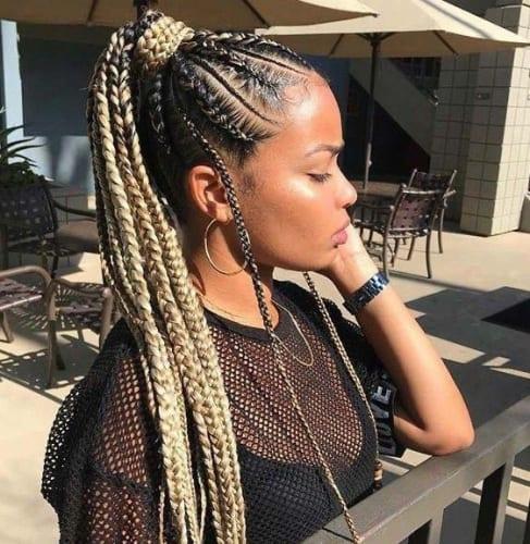 box braids ponytail style