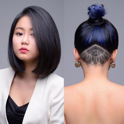 medium length bob with hidden undercut